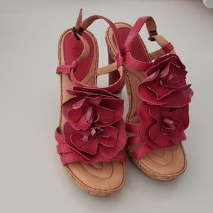 Born Pink High Heel Leather Sandals Size 6